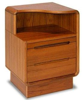 Sun Cabinet's Nightstand For Right Side With Graceful Curved Top & Drawers in Teak