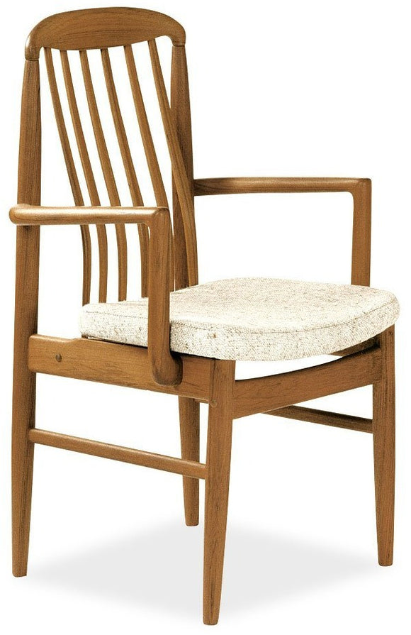 Sun Company BL10 Armchair in Teak with Beige Fabric Seat