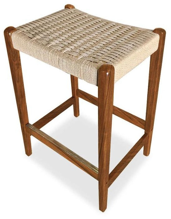 Sun Cabinet JK25 Counter Stool in Teak with Rope Seat