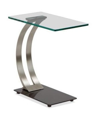 Elite Modern Encore Table Carbon; Champagne-Plated Steel; Glass Accent Table