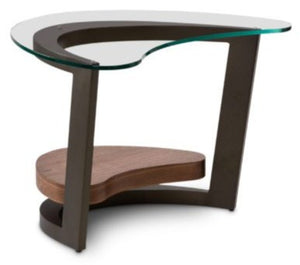 Elite Modern Maui End Table with a Glass Top, Lava Metal and Walnut Wood