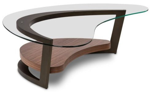 Elite Modern Maui Coffee Table with a Glass Top, Lava Metal and Walnut Wood