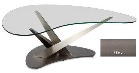 Elite Modern Crystal 2035 Coffee Table in Glass, Powder Coat Legs, and a Mink Lava Base