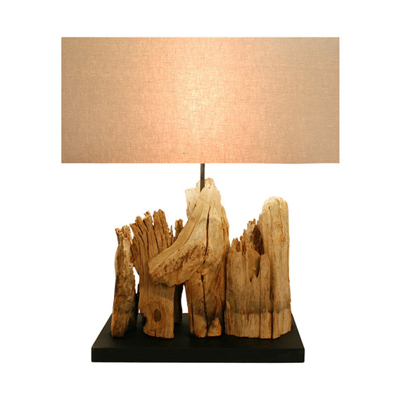 Bellini Imports Mini Vertico Riverine Table Lamp in Natural Wood