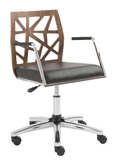 Eurostyle Sophia Office Chair with a Walnut Back, Black Leather Seat, and Chrome Base