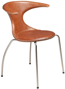 Dan-Form Flair Dining Chair in a Light Leather Seat and Metal Base