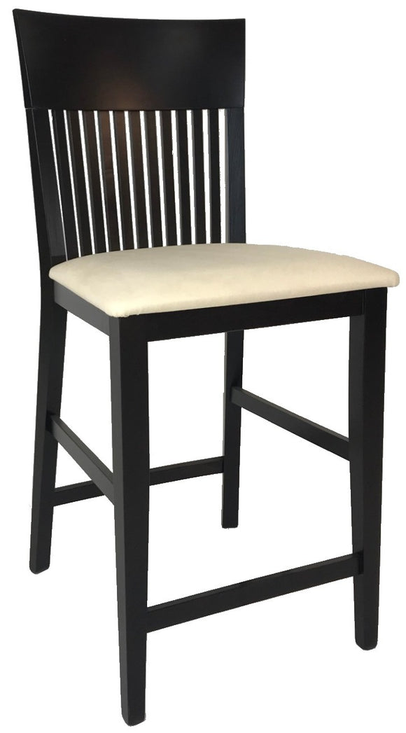 Ansager 865 Counter Stool in Wenge Wood and White Fabric Seat