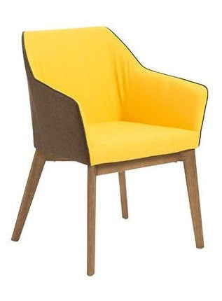 Eurostyle Elias Armchair in Yellow Fabric with Walnut Legs