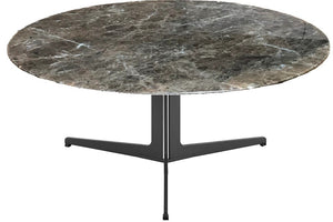 "Eurostyle Ramili 35"" Round Coffee Table with an Emperador Marble Top and Steel Base"