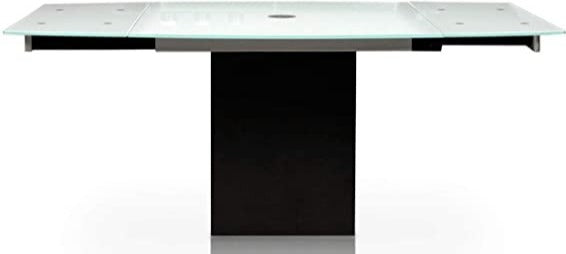 Star Quadrato Dining Table with a Glass Top; Black Granite Base; Silver Metal Accents