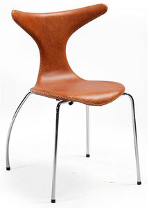 Dan-Form Dolphin Dining Chair in a Brown Leather Seat and Metal Legs