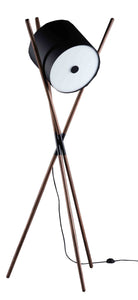 Artisan Bosnia Shift Floor Lamp in Walnut with Black Shade