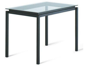Amisco 50698 Robert Bar Table with a Glass Top and Metal Base