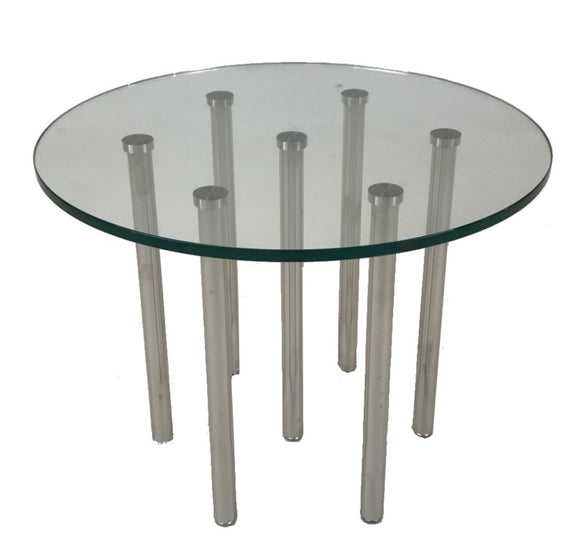 GFI Pins End Table with a Glass Top and Chrome Legs
