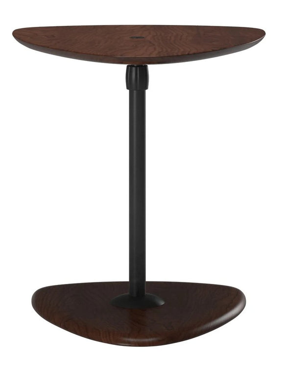 Ekornes USB Table B End Table with a Brown Top, Black Stem, and Brown Base