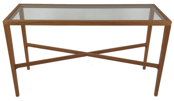 Trekanten 654 Console Table with a Glass Top and Teak Wood Frame