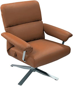 Lafer Elis Mechanical Manual Ergonomic Modern Recliner Low Back Saddle Brown; Brushed Aluminum Base