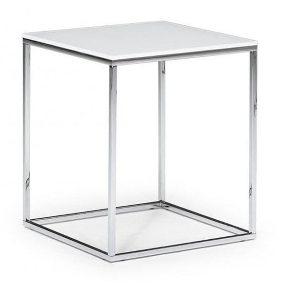 Natuzzi Italia T100MY1 Cabaret End Table with a White Marble Top and a Chrome Base