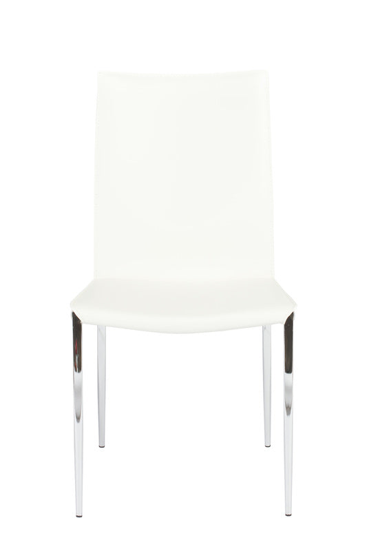 Ital Studio Max II Dining Chair in a White Leather Seat and Satin Nickel Legs