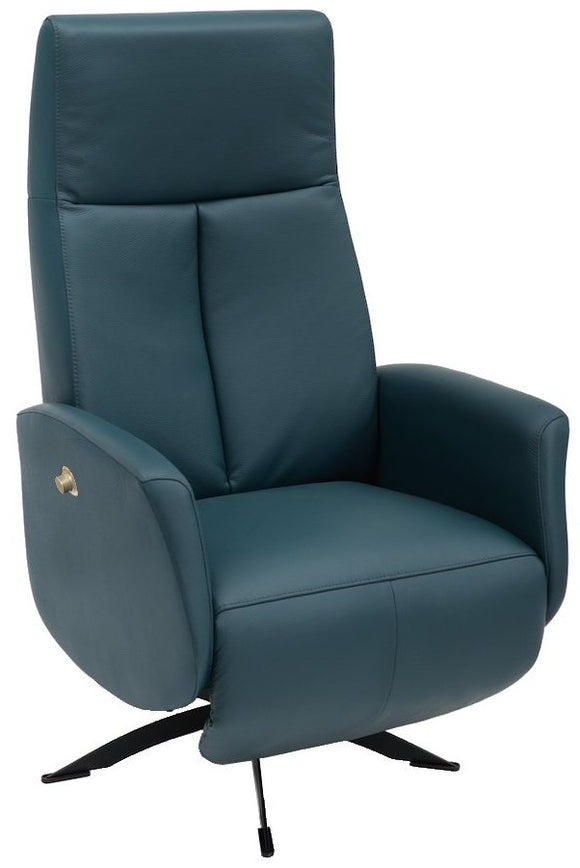 Hjort Knudsen 7091 Recliner with a Blue Leather Seat and Black Metal Base