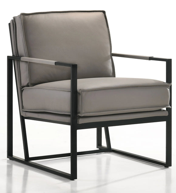 Ital Studio Boca Occasional Chair in a Soft Full Grain Light Grey Leather and Black Metal Legs