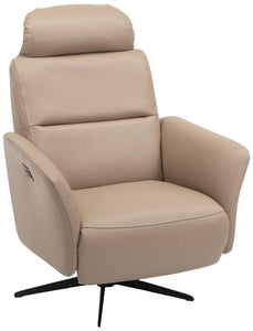 Hjort Knudsen 8012 Club Relax Recliner in a Khaki Leather Seat and Black Base