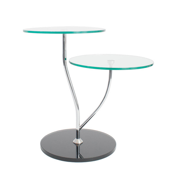 Ital Studio Duetto End Table with a Glass Top, Chrome Legs, and a Black Base