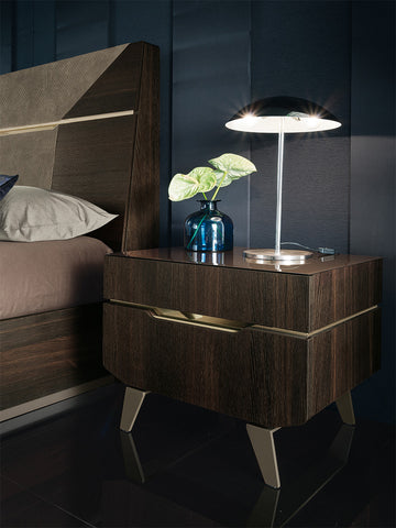 ALF Italia Accademia Nightstand Termocotto Contemporary Italy Dark Walnut