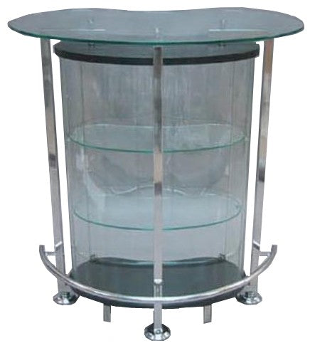 Andrew Pearson Design 856 Cosmo Bar with Ebony Wood, Glass, and Chrome
