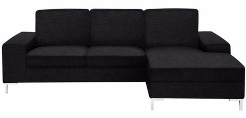 Acton Oregon Sectional sofa with chaise lounge anthracite dark grey fabric metal leg