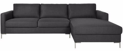 Actona Avio Sectional Grey Fabric Metal Leg Sofa with Chaise Lounge L Shaped Sectional