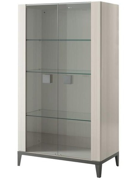 ALF Italia Mont Blanc Curio Display Cabinet Light Grey High Gloss Glass