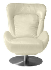 Lafer Amy Mechanical Manual Ergonomic Recliner Accent Chair FC40 Magnolia White; Aluminum Base