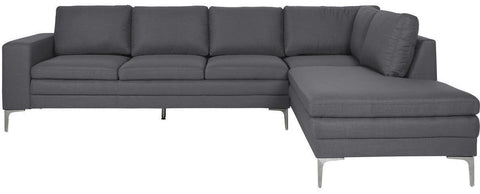 Actona Anaco Dark Grey; Metal Legs; RAF Sectional Sofa Fabric