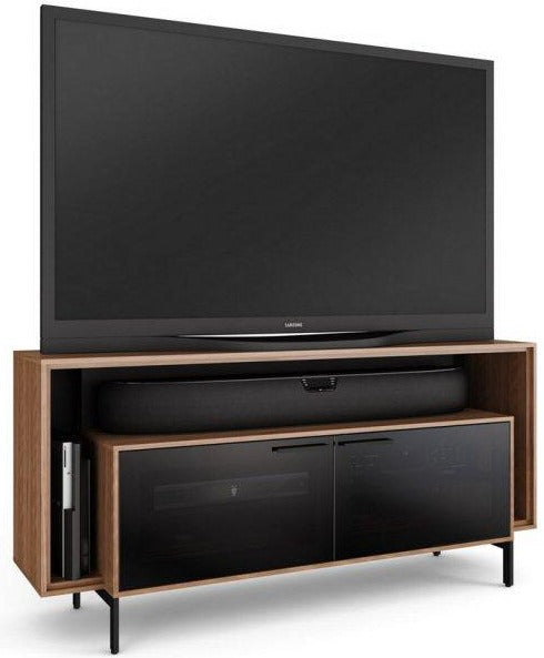 BDI 8168 Cavo Slim TV Stand with Double-Width Design in Natural Walnut and Remote-Friendly Doors