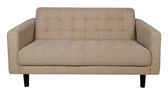 Actona Bloom Loveseat in Sand Fabric and Wood Legs