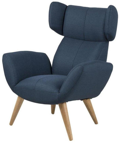 Actona Balfour Chair Ash Oiled; Dark Blue Fabric Occasional Denmark Scandinavian