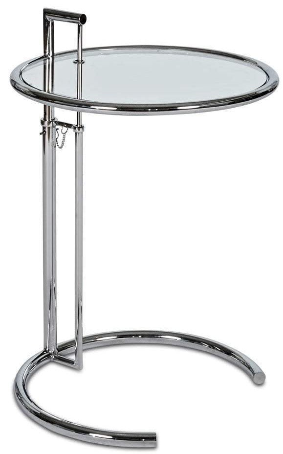 Ital Studio Ellen End Table with a Glass Top and Chrome Base