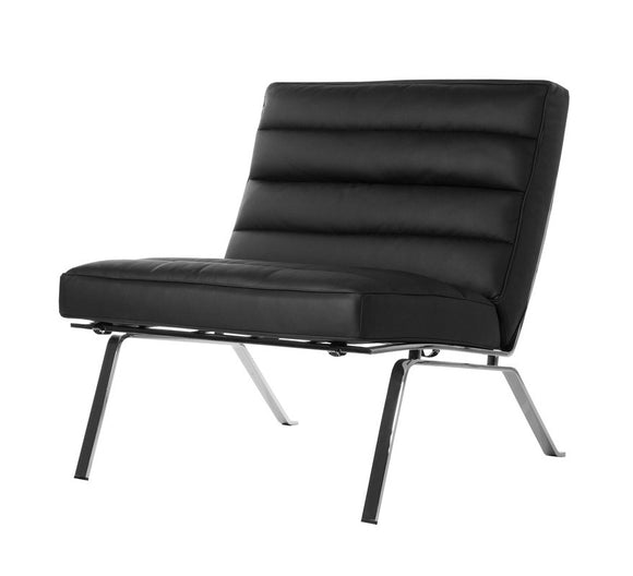 Chairtech Firenze Ital Studio with a Black Leather Seat and Metal Base