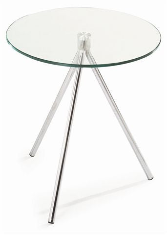 Ital Studio Treo End Table with a Glass Top and Chrome Legs