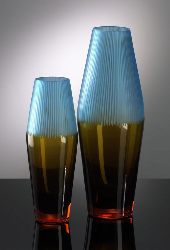 Cyan Design 00906 Vase with Orange, Yellow, and Blue Glass