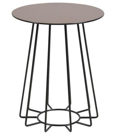 Actona Casia Round End Table Brozne Mirrored Top Black Metal Base Accent Occasional