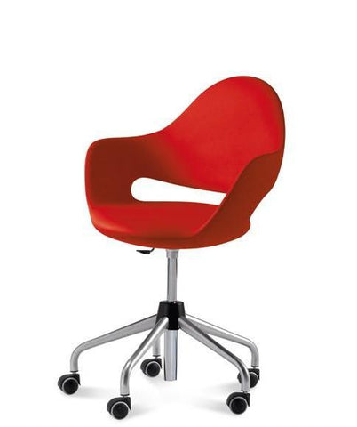Domitalia Soft Red; Lacquered Metal Frame Low Back Office Chair