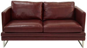 Kuka 1378 Sofa and Loveseat in Burgundy Leather and Steel Legs