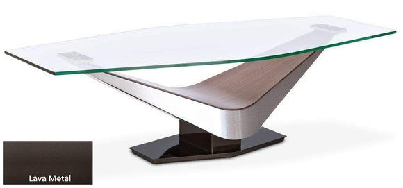 Elite Modern Victor 2022 Coffee Table with a Glass Top, Walnut Arms, and Lava Metal Base