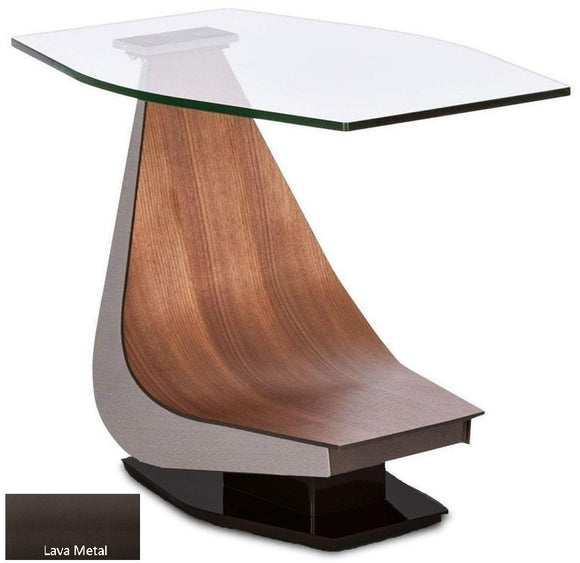 Elite Modern Victor 2022 End Table with a Glass Top, Walnut Arm, and Lava Metal Base
