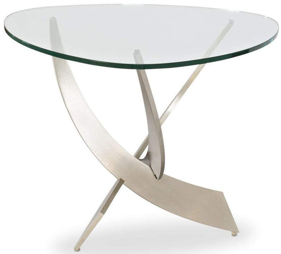 Elite Modern Reef End Table in Glass and Champagne-Plated Metal