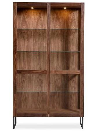 Skovby 452 Display Cabinet in a Walnut Oil Frame with Glass Shelves and Black Legs