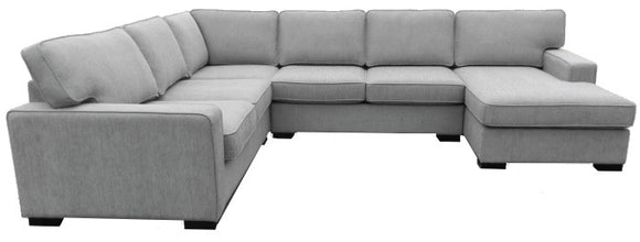 Actona Gilman Sectional in Holly Grey Fabric and Wood Legs