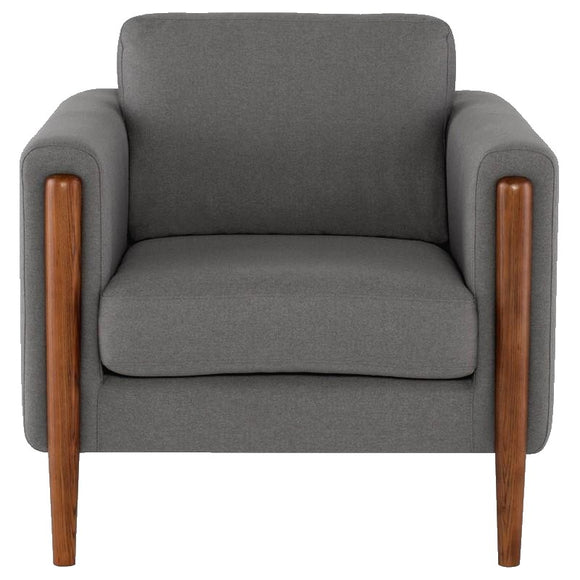 Scandinavian Design Steen Occasional Chair with a Steel Grey Fabric Seat and Walnut Stained Ash Legs